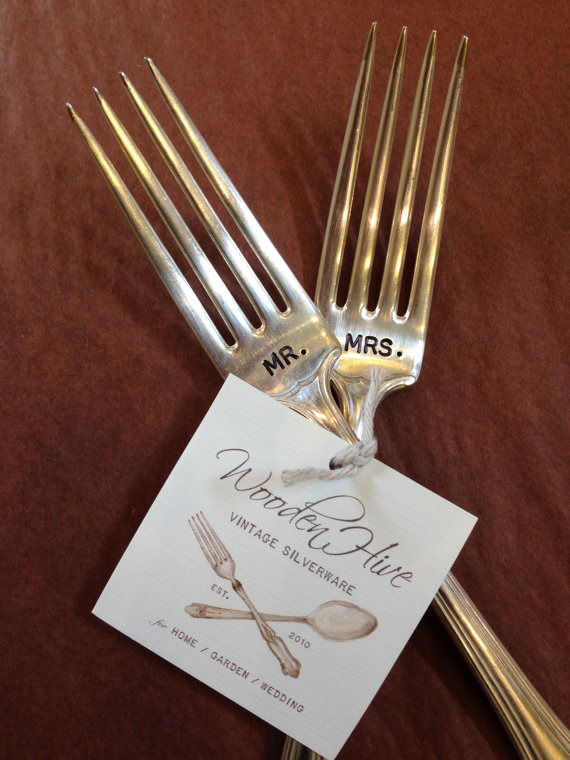 bride groom vintage wedding silverware cake forks