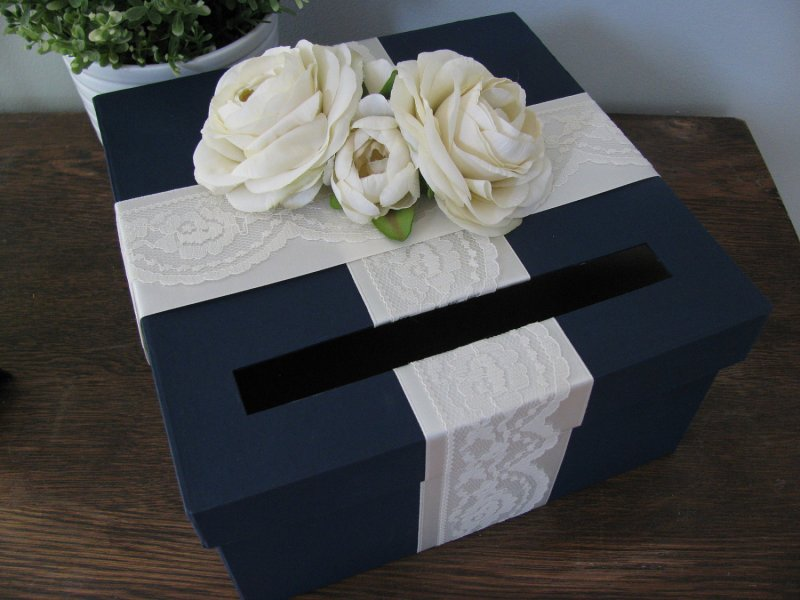 navy and white card box | via http://emmalinebride.com/decor/navy-and-white-wedding-ideas/ | from 21 Navy and White Wedding Ideas