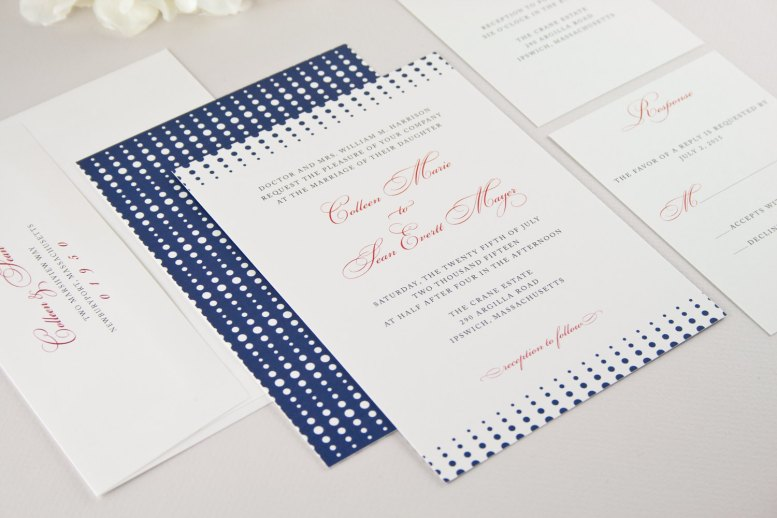 navy and white dotted modern wedding invitations