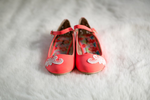 neon coral wedding flats by Walkin On Air | via 5 Tips to Make Wedding Flats Absolutely Easy to Wear http://emmalinebride.com/bride/tips-flats-wedding/