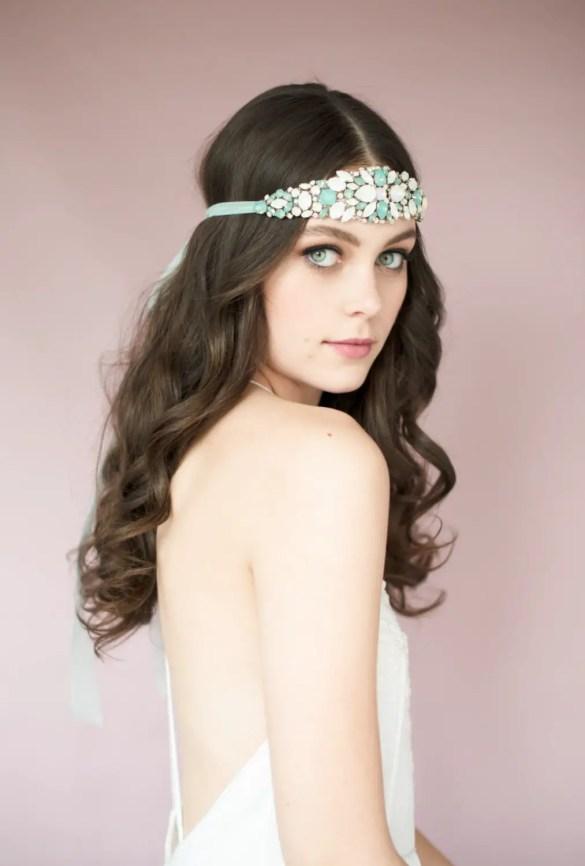opal crystal headband | Bridal Headband With Veil via http://emmalinebride.com/bride/bridal-headband-with-veil/
