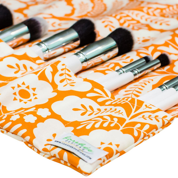 orange floral brush roll