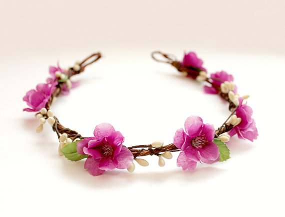 orchid flower hair crown