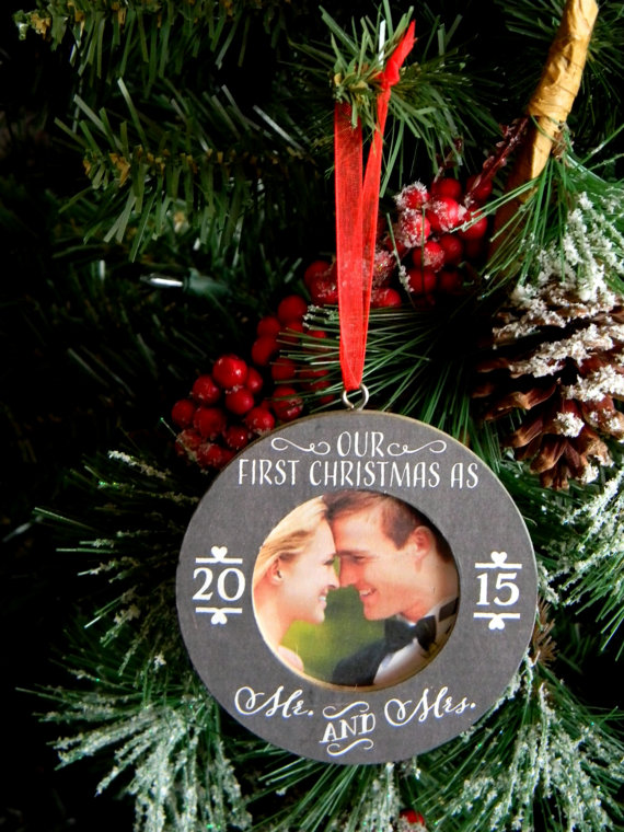 ornament by justforkeeps via 50+ First Christmas Ornaments Engaged / Married