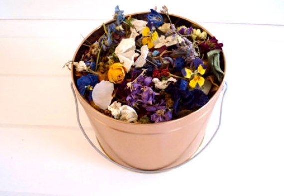 pail of wildflowers for tossing