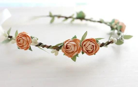 peach rose flower hair crown