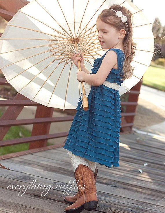 peacock blue ruffle flower girl dress