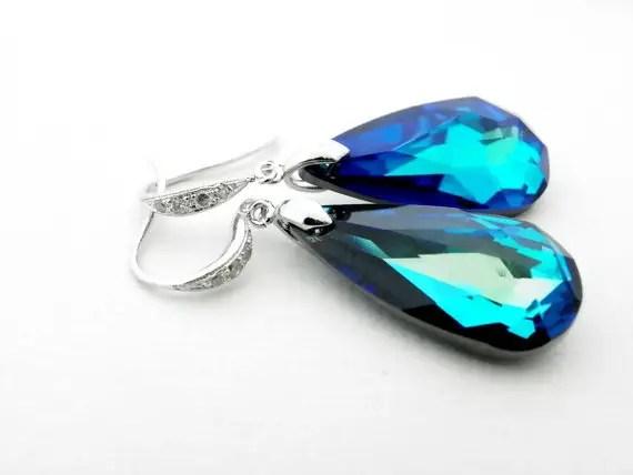 peacock blue swarovski earrings