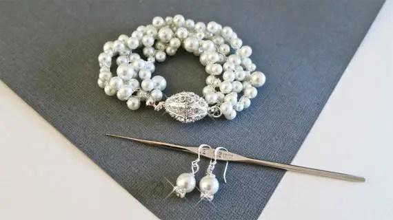 pearl rhinestone bracelet and earrings