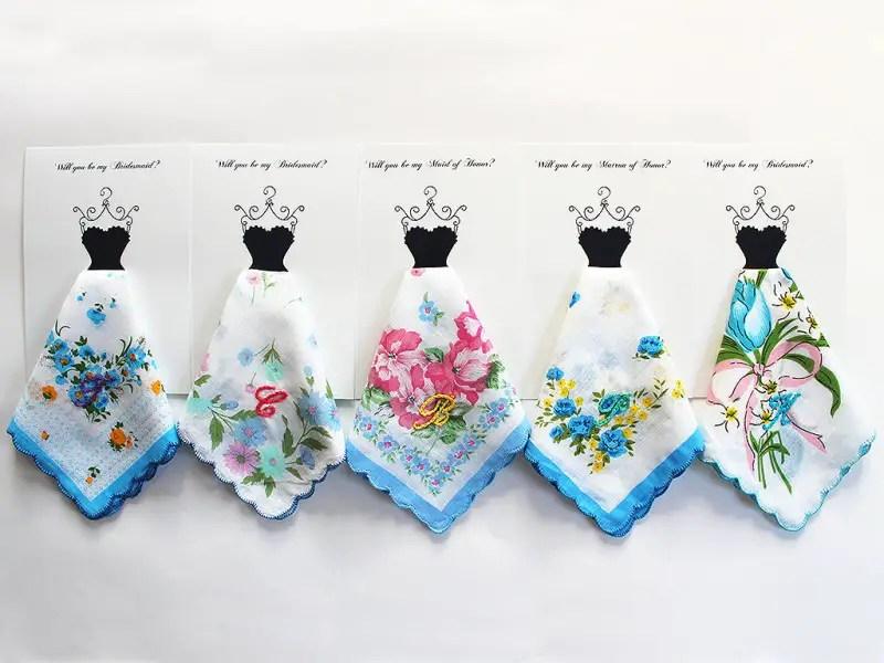 personalized hankies bridesmaids