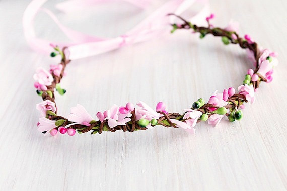 Pretty in Pink | Flower Girl Hair Crowns | http://emmalinebride.com/flower-girl/hair-crowns/