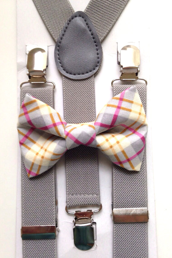 plaid bow tie and suspenders