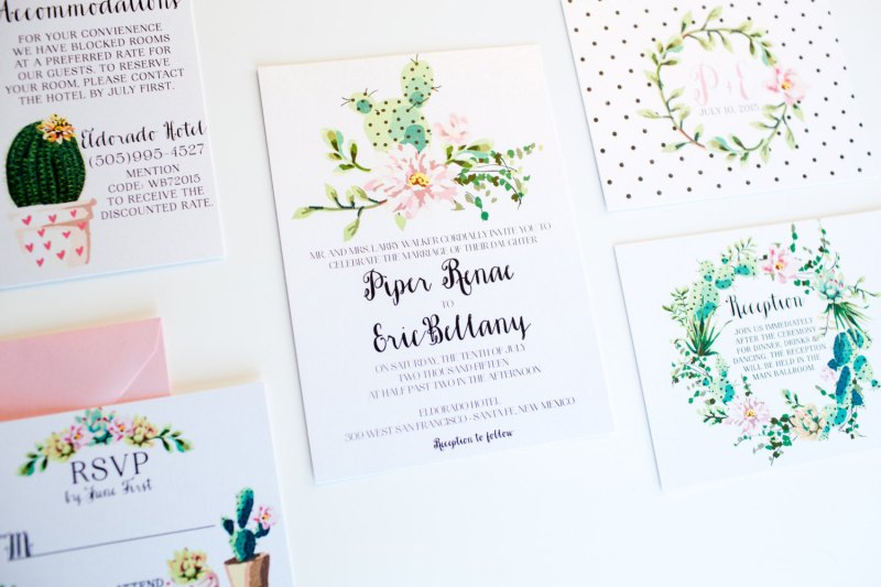 polka dot botanical wedding invitation | via polka dot wedding ideas http://emmalinebride.com/themes/polka-dot-wedding-ideas-handmade/