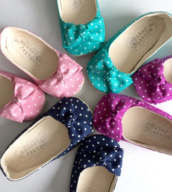 colorful polka dot flower girl shoes | handmade flower girl shoes via http://emmalinebride.com/spring/handmade-flower-girl-shoes/