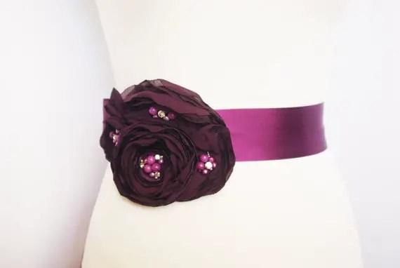 Flower Sash for Wedding Dress in Purple