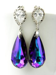 purple swarovski earrings for weddings