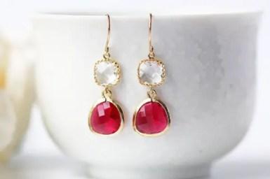 red and clear earrings by kaorikaori   via emmalinebride.com   valentine jewelry etsy