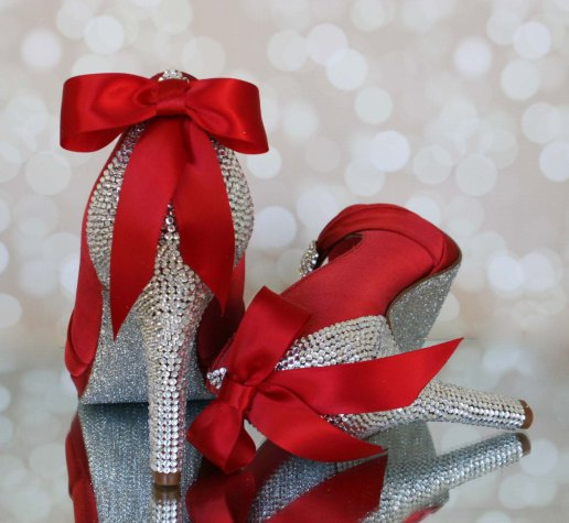 silver and red jeweled wedding shoes