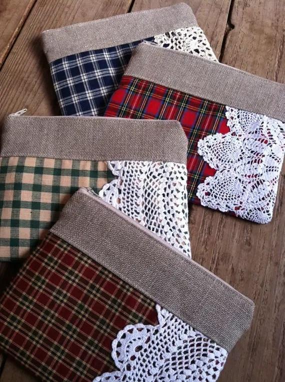 plaid foldover doily clutch purses