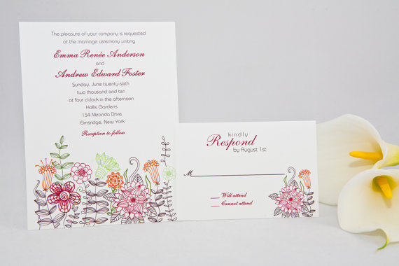 retro floral wedding invitations