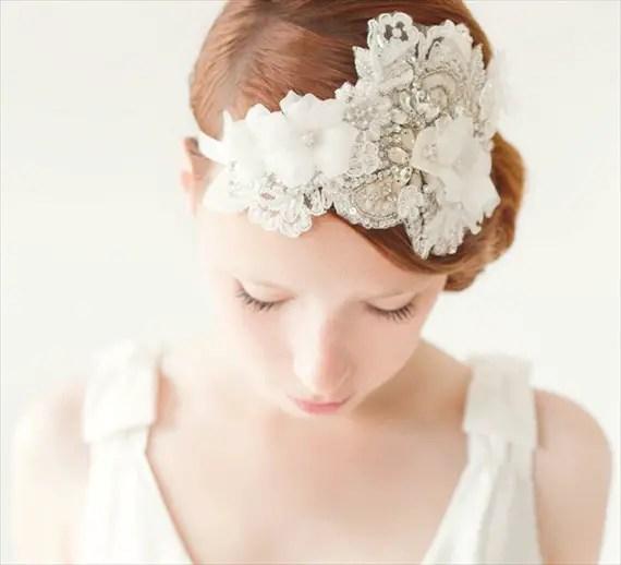How to Rock a No Veil Wedding Look (via EmmalineBride.com) - rhinestone fascinator by Sibo Designs