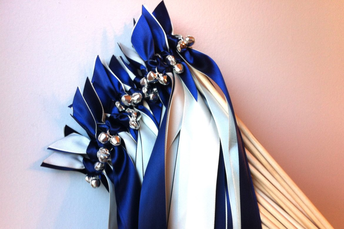 royal blue and silver ribbon wands with bells