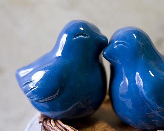 Love Bird Cake Toppers in Royal Blue (by Dances With Clay)