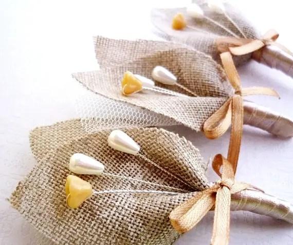rustic burlap boutonniere for groomsmen | 28 Best Rustic Wedding Boutonniere Ideas