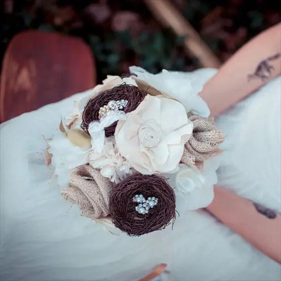 Fabric Flower Bouquet (by Autumn & Grace Bridal) - rustic woodland fabric bouquet