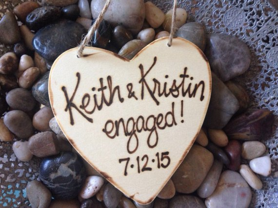 rustic first Christmas ornaments engaged / married
