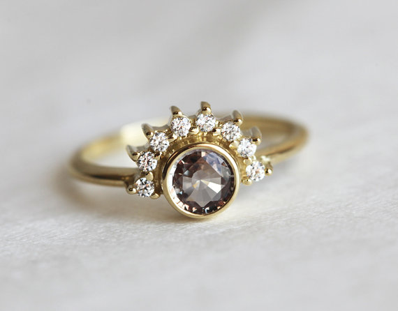 sapphire diamond engagement ring | Best Engagement Rings Etsy | via http://emmalinebride.com/jewelry/40-best-handmade-rings-ever/ 