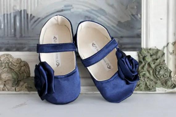 satin blue flower girl shoes