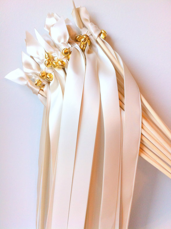 satin ribbon wands with bells