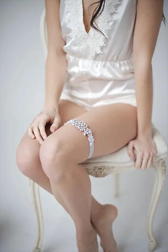 satin romber rhinestone garter - bridal intimates (by Tessa Kim)