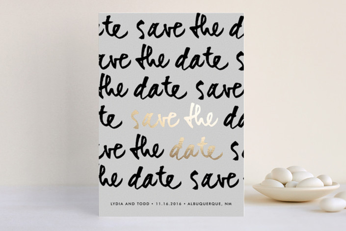 save the date with real foil and black and white lettering | Foil Pressed Save the Date Cards via emmalinebride.com