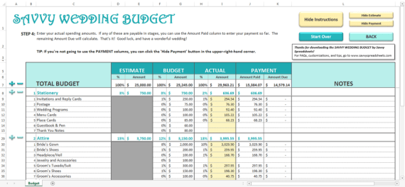 savvy wedding budget