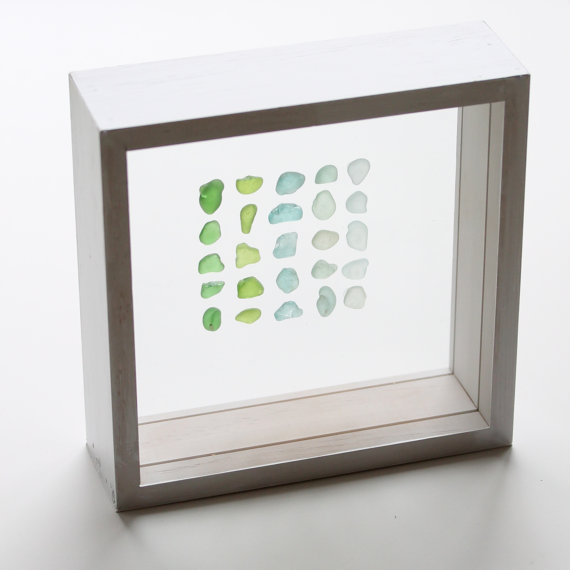 sea glass in shadow box