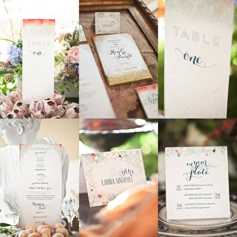 sea glass wedding paper goods
