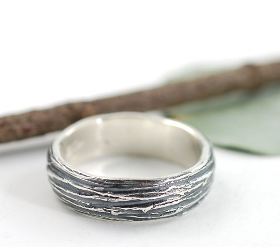 silver tree bark wedding ring | handmade wedding bands | http://emmalinebride.com/jewelry/handmade-wedding-bands/