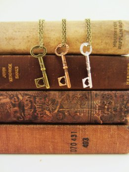 skeleton key necklaces on brass chain