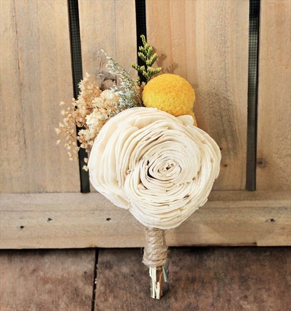 sola flower rustic wedding boutonniere with yellow billy ball craspedia