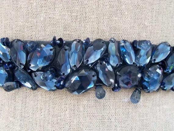 blue lucite stone dress sash