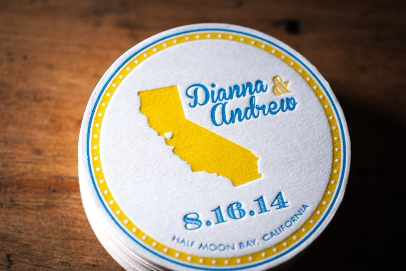 state themed wedding coasters