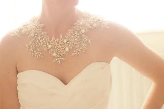 statement necklace via wedding dress with statement necklace httpemmalinebridecom