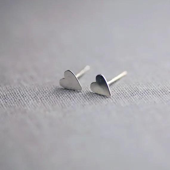 sterling silver heart earrings by lilyemme jewelry via emmalinebride.com