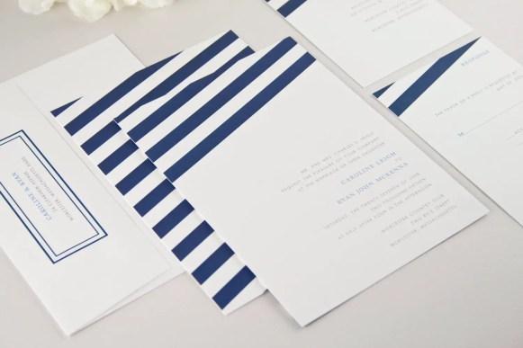 striped navy blue wedding invitations