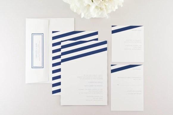 stripey navy blue wedding invitations