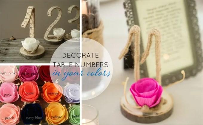 table numbers flowers