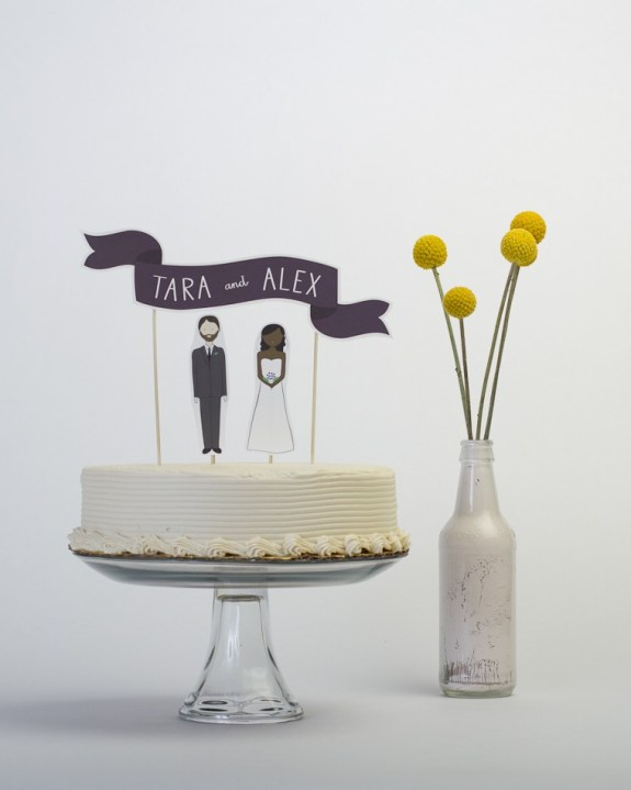 tara and alex custom names wedding cake banner
