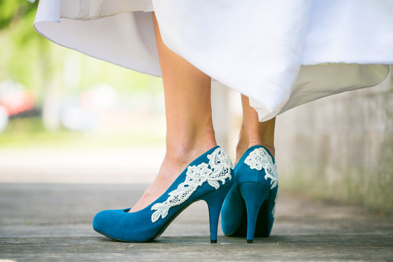 teal blue wedding shoes